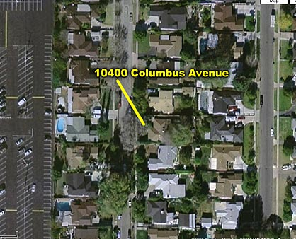 Aerial photo showing the house at 10400 Columbus Avenue, where Carl Switzer was killed.