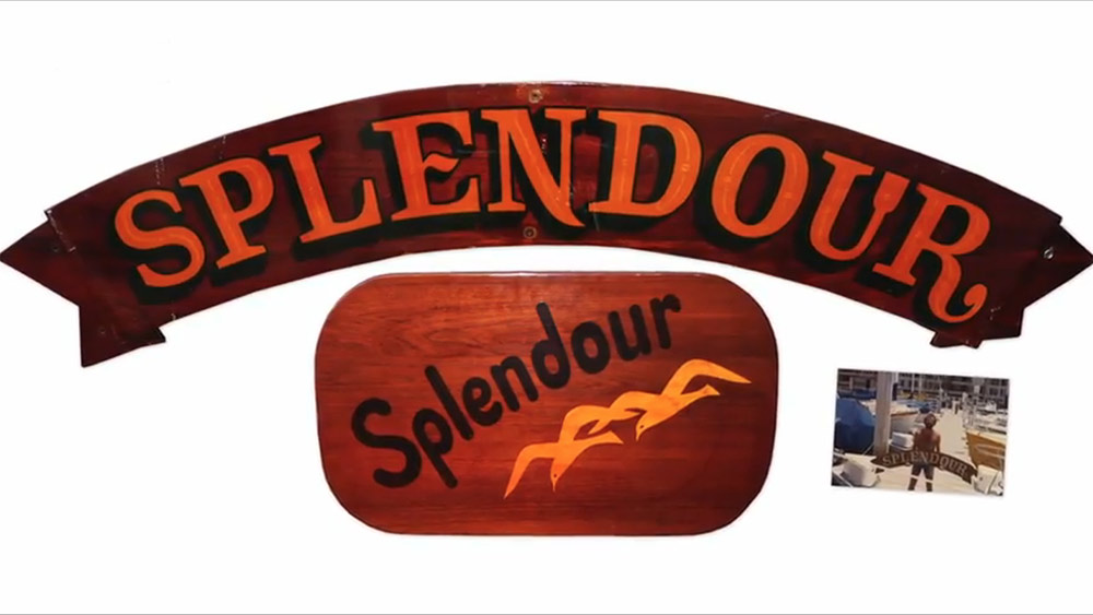 The Splendour nameboard and coffee table for sale